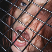 Woman with mouth open. — Stock Photo