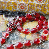 Red bead necklace. — Stock Photo