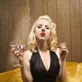 Woman with martini. — Stock Photo