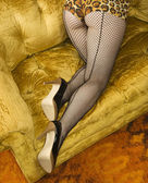 Woman in fishnet stockings. — Stock Photo