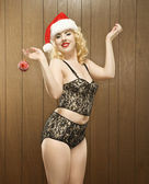Woman in holiday attire. — Stock Photo