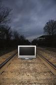 Television on train tracks. — Foto Stock