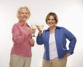 Two women toasting wine. — Stock Photo