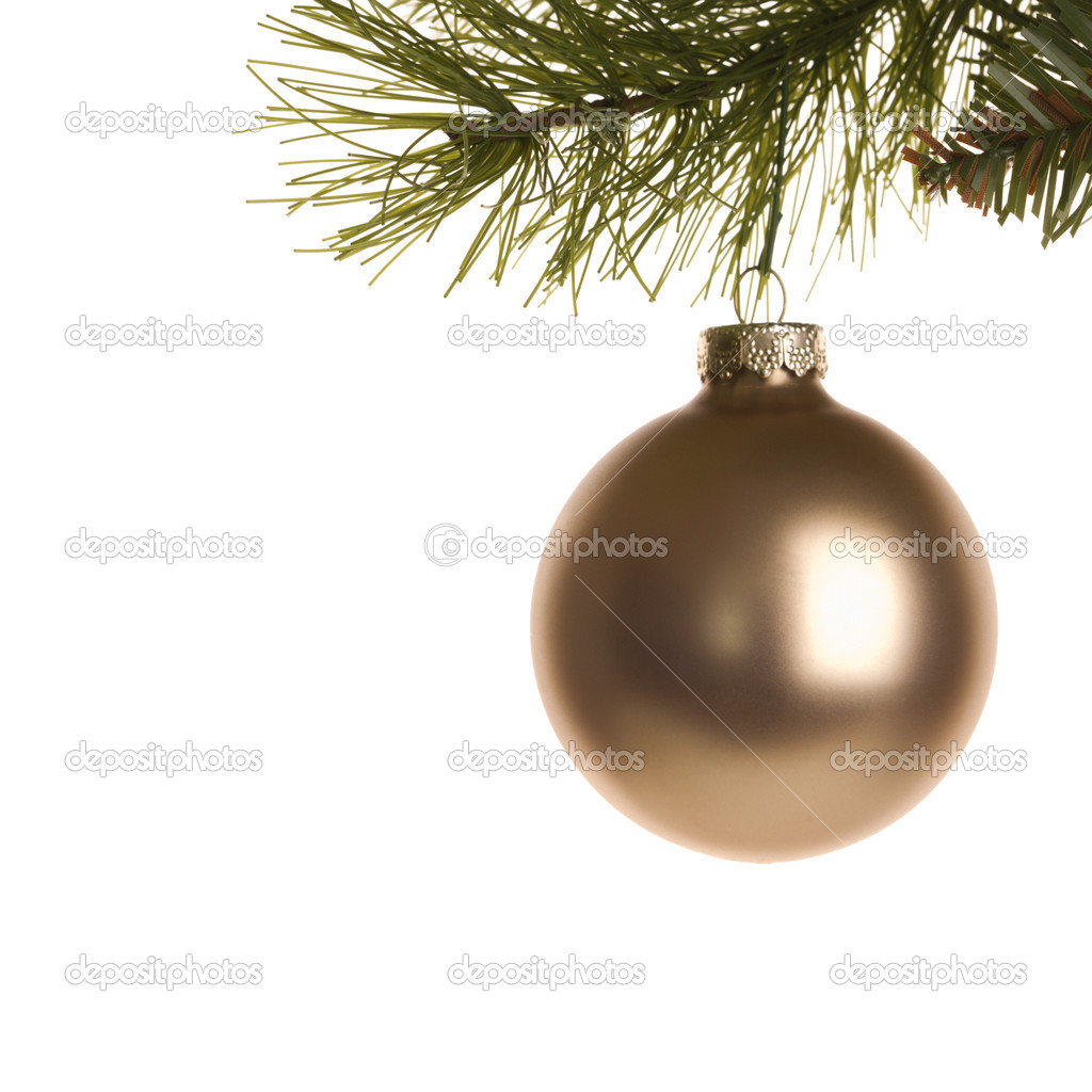 Still life of gold Christmas ornament hanging from pine branch. — Stock Photo #9531193