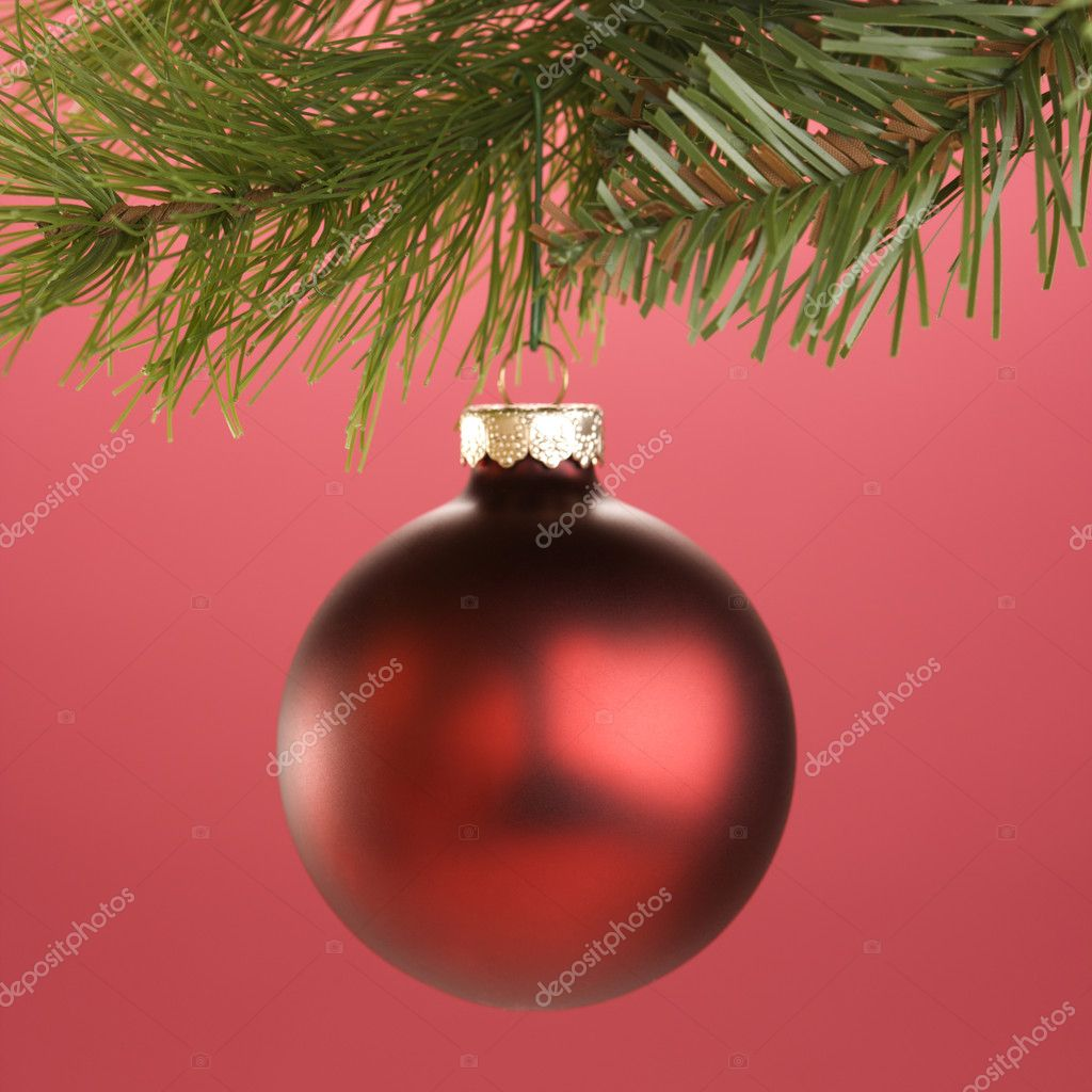 Still life of round red Christmas ornament hanging from pine branch. — Stock Photo #9531318