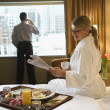 Woman and Man in Hotel Room — Foto Stock