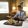 Businessman with Hotel Room Service — Stok fotoğraf
