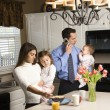 Stockfoto: Family in kitchen.