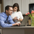 Couple with laptop. — Stock Photo #9551749