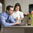 Couple with laptop. — Stock Photo #9551751