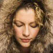 Woman with fur hood. — Stock Photo #9552279
