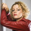 Woman in red jacket. — Stockfoto