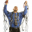 Man wrapped in cables. — Stock Photo