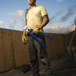 Serious Looking Construction Worker — Stock Photo