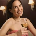 Woman drinking wine. — Stock Photo