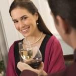 Couple drinking wine. — Stock Photo