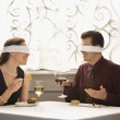 Couple on blind date. - Stock Photo