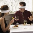 Couple on blind date. — Stockfoto