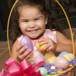 Girl with Easter basket. — Stock Photo