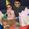 Kids having birthday party. - Stock Photo