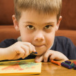 Stock Photo: Boy drawing.
