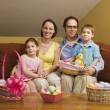 Easter family portrait. - Stock Photo