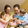 Family with Easter basket. — Stock Photo #9553461