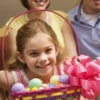 Girl with Easter basket. - Stock Photo