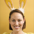Womwearing rabbit ears. — Stock Photo #9553473