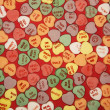 Candy hearts on red. — Stock Photo #9554007