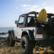 Stock Photo: SUV and Surfboard at Beach