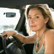 Blonde Woman Sitting in Car — Stock Photo