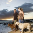 Couple Walking Dogs at the Beach - Stock Photo