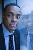 Portrait of Businessman and His Reflection — Stock Photo