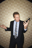 Angry Businessman on Cell Phone — Stock Photo