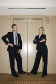 Businesspeople Waiting For Elevator — Stock Photo