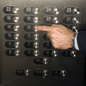 Hand Pushing Elevator Button — Stock Photo
