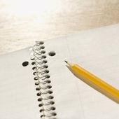 用铅笔在笔记本上. — 图库照片