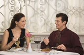 Couple dining at restaurant. — Stock Photo