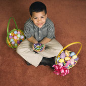Boy with Easter baskets. — Stock Photo