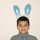 Boy wearing bunny ears. — Stock Photo