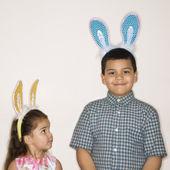 Kids wearing bunny ears. — Stock Photo