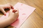 Girl drawing. — Stock Photo