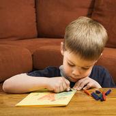 Boy drawing. — Stock Photo