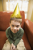Boy in party hat. — Stock Photo