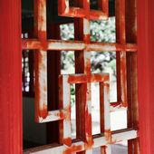Asian wooden window — Stock Photo