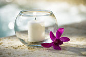 Candle and orchid. — Stock Photo