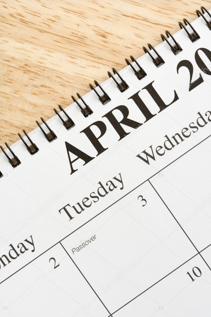 Close up of spiral bound calendar displaying month of April. — Stock Photo #9550881
