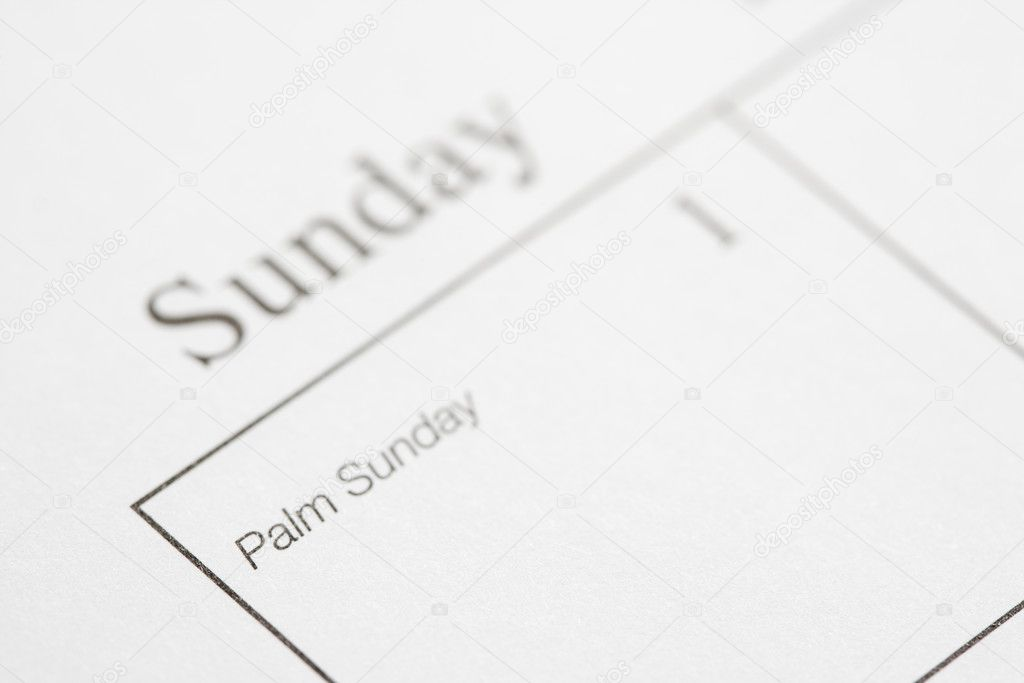 Close up of calendar displaying Palm Sunday. — Stock Photo #9551013