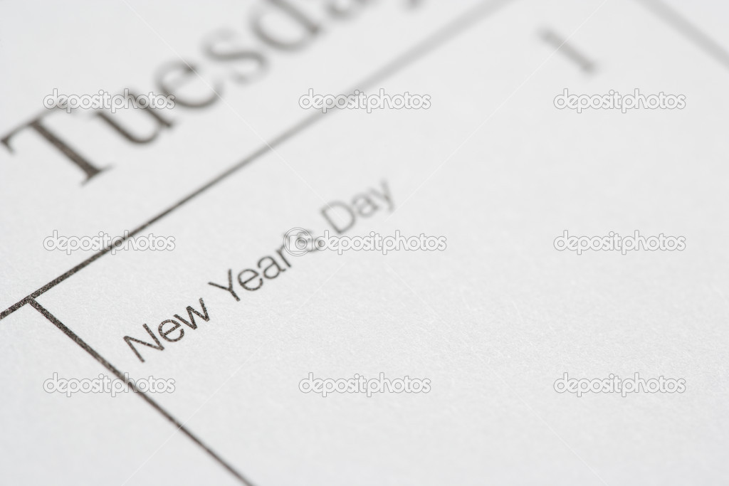 Close up of calendar displaying New Years Day. — Stock Photo #9551043